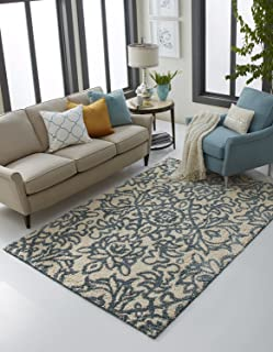 Mohawk Home Augusta Spokane Floral Ornamental Woven Shag Area Rug, 5'x8', Blue and Ivory