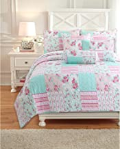 Cozy Line Home Fashions Pink Floral Tiffany Blue Reversible Quilt Bedding Set, Coverlet Bedspread (Pink Garden, Twin - 2 P...