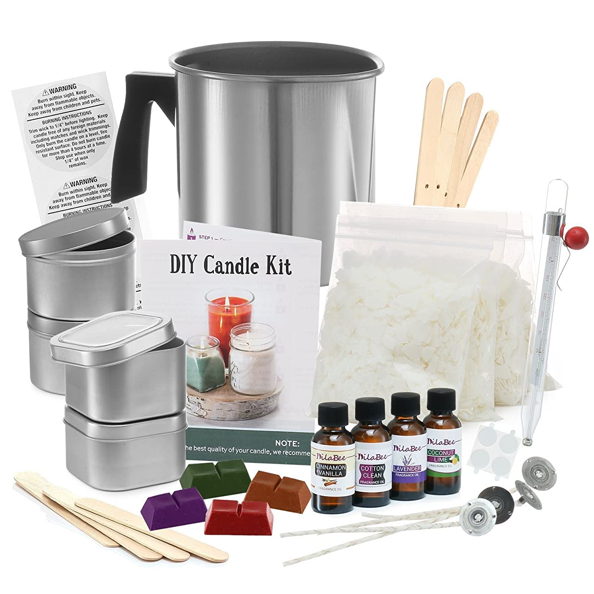 Complete DIY Candle Making Kit Supplies – Create Large Scented Soy Candles – Full Beginners Set Including 2 LB Wax, Rich Scents, Dyes, Wicks, Melting Pitcher, Tins & More