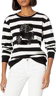 Karl Lagerfeld Paris Women's Stripe Sweatshirt with Karl Silhouette