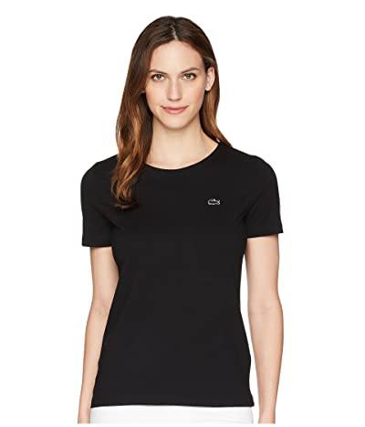 Lacoste Short Sleeve Classic Supple Jersey Crew Neck T-Shirt (Black) Women