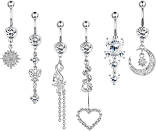 Sponsored Ad - Hanpabum 6pcs 14g Belly Button Rings Dangle, Navel Rings Barbell CZ Paved, Surgical Steel Body Piercing Jew...