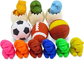 Daiso Japan Sports Dinosaur Gorilla Mini Puzzle Japanese Erasers for Kids - Perfect 15 Piece Set for Boys