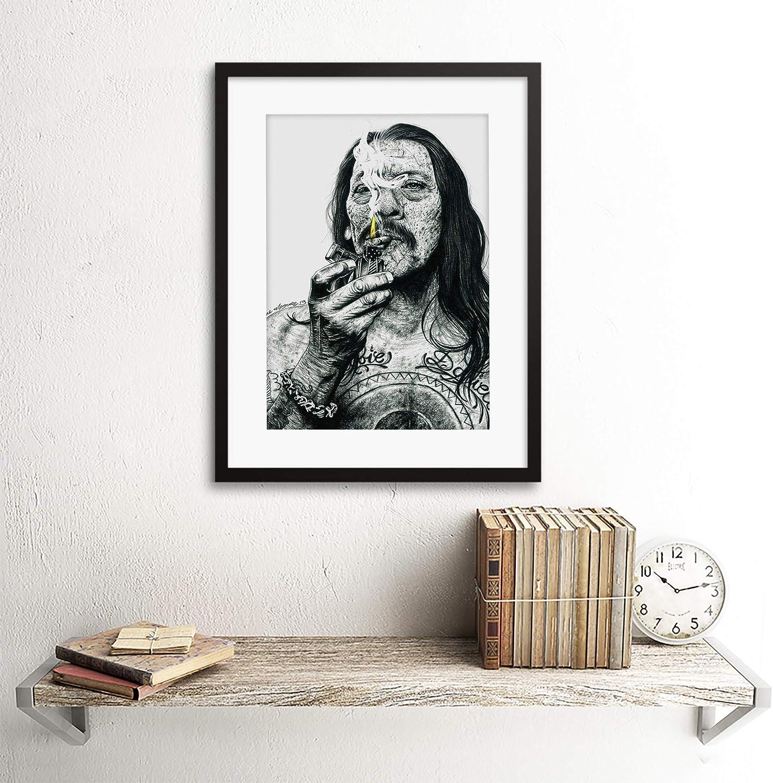 Danny Trejo Tattoo Inked Ikons Wayne Maguire Wall Art Print Framed 12x16