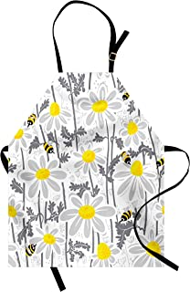 Ambesonne Grey Apron, Daisy Flowers with Bees in Spring Time Honey Petals Floret Nature Purity Blooming, Unisex Kitchen Bib with Adjustable Neck for Cooking Gardening, Adult Size, Yellow White