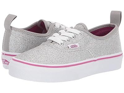 Vans Kids Authentic Elastic Lace (Little Kid/Big Kid) ((Glitter Textile) Silver/True White) Girls Shoes