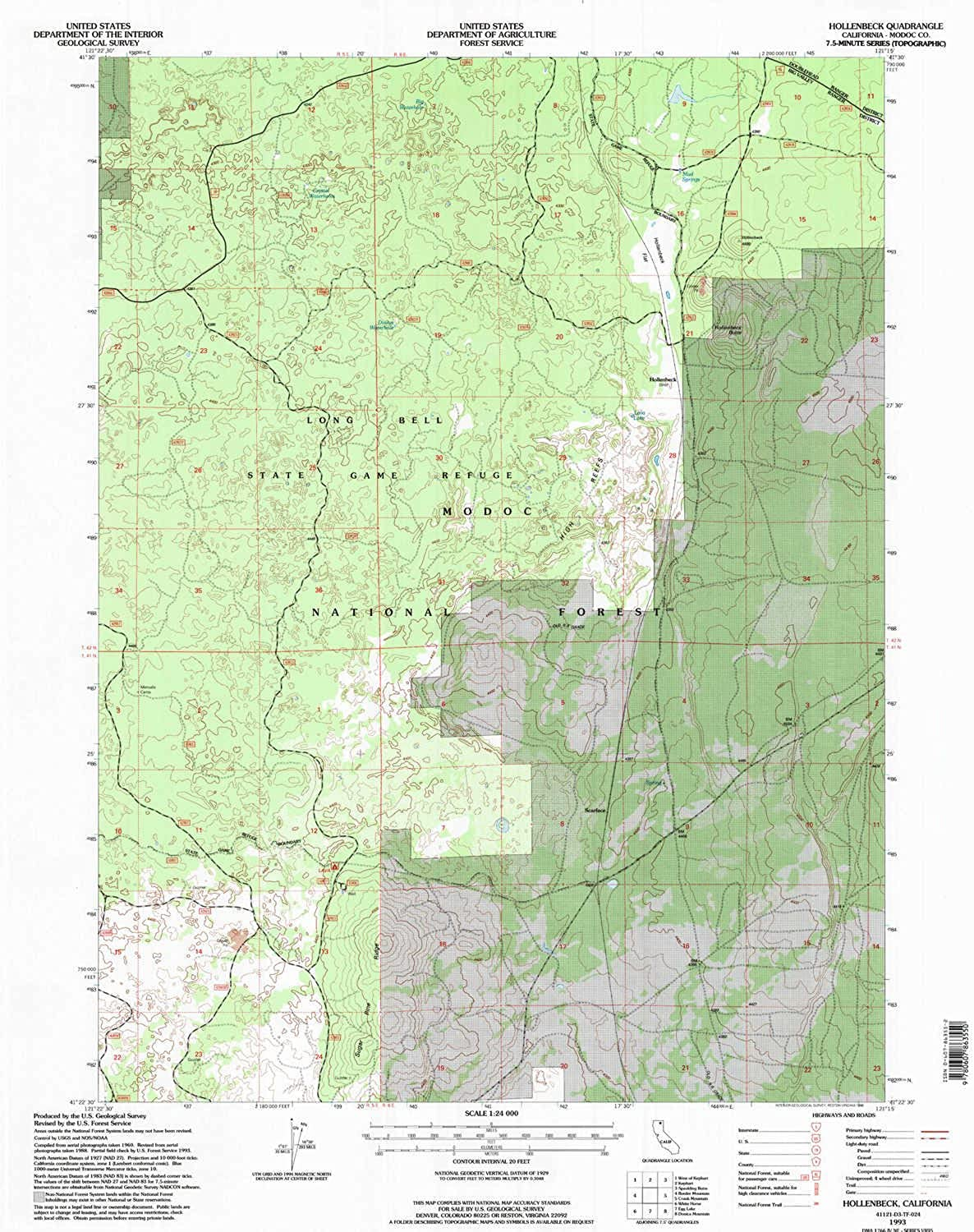 Hollenbeck CA topo map, 1 24000 Scale, 7.5 X 7.5 Minute, Historical, 1993, Updated 1996, 26.7 x 21.4 in