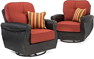 La-Z-Boy Outdoor Breckenridge Resin Wicker Swivel Rocker 2 Piece Patio Furniture Set (Brick Red) with All Weather Sunbrella Cushions