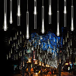 Syka Falling Rain Lights White, UL Listed Meteor Shower Lights with 11.8 inch 8 Tubes 144 LEDs Raindrop Lights, Outdoor Icicle Snow Cascading Christmas String Lights for Tree Thanksgiving Garden Party