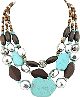 Bocar Personalized Layered Strands Turquoise Statement Chunky Necklace for Women Gifts