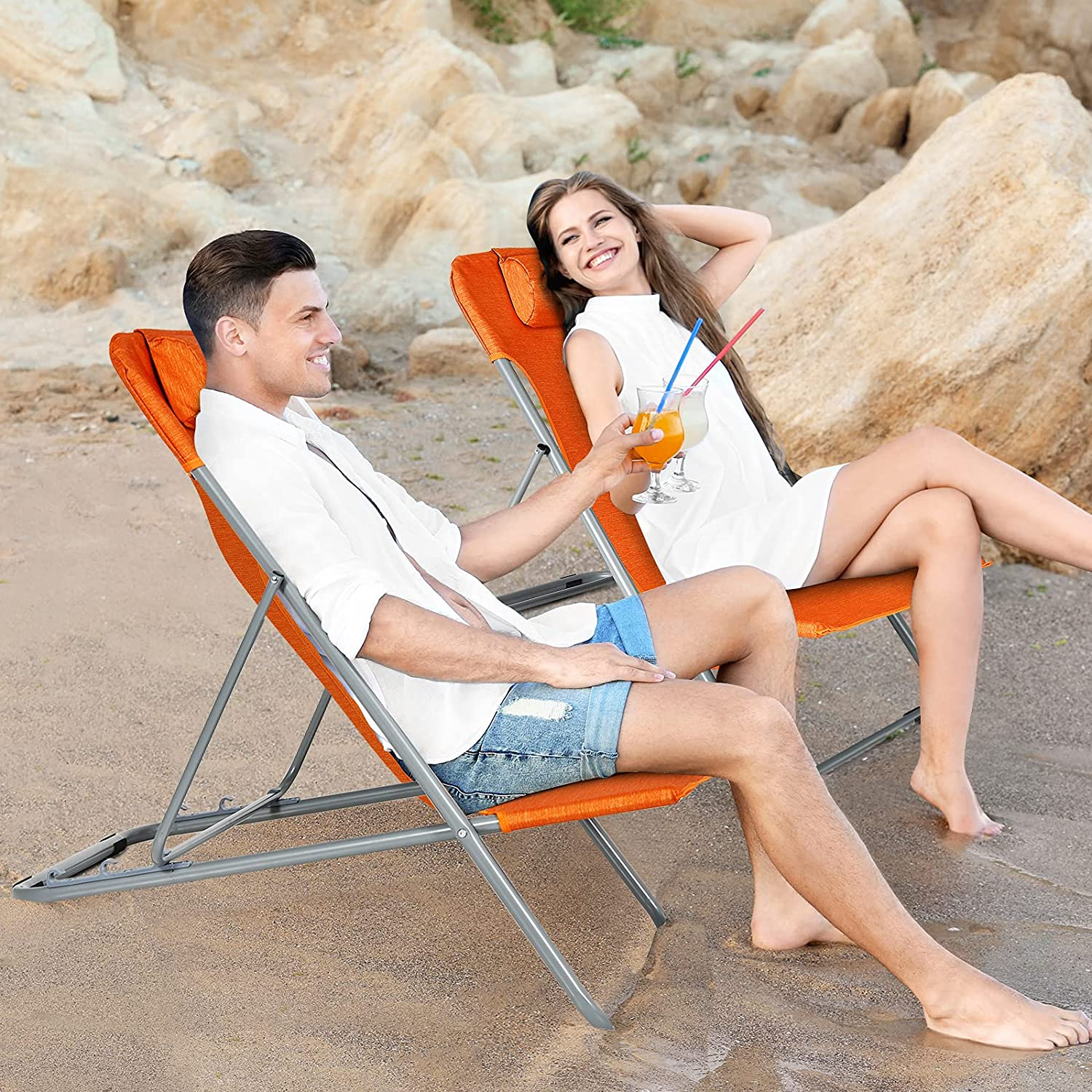 GYMAX free Folding Beach Chair Set Free shipping 2 of Campin Adjustable 3-Position