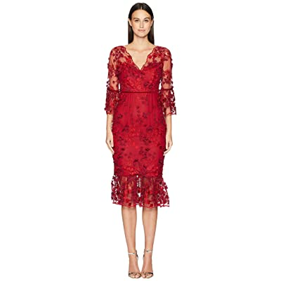 Marchesa Notte 3/4 Sleeve Embroidered 3D Floral Dress (Red) Women