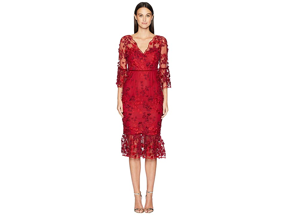 a7d5cc757fce Marchesa Notte 3/4 Sleeve Embroidered 3D Floral Dress (Red) Women