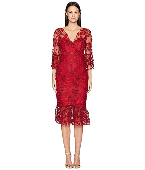 Marchesa 3/4 Sleeve Embroidered 3D Floral Dress