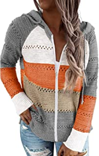 Aleumdr Women's Lightweight Color Block Hooded Sweatshirt Loose Long Sleeve Zip-up Hoodies Gray Small Size