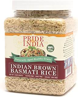 Pride Of India - Extra Long Brown Basmati Rice - Naturally Aged Healthy Grain, 1.5 Pound Jar
