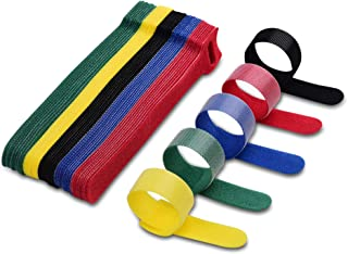 VCZHS 50 PCS Reusable Fastening Cable Ties, Microfiber Cloth 6-Inch Hook and Loop Cord Ties for Tablet Laptop PC TV Home O...