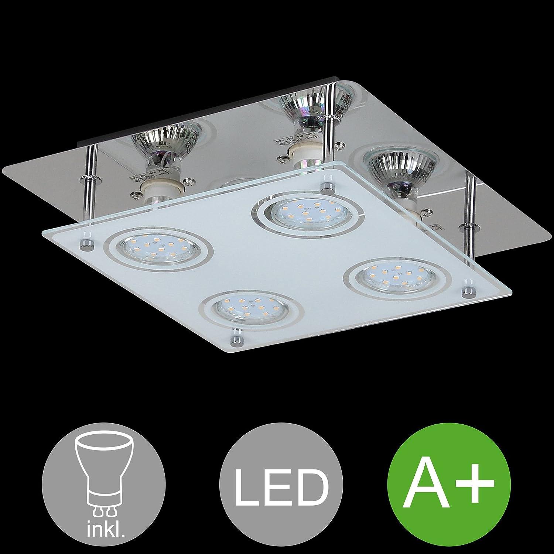 BuyDream 4-flammige LED Deckenlampe GU10 quadratisch inkl. 4X 3 Watt Leuchtmittel Deckenleuchte IP20 Warmwei (EEK  A+) aus Chrom und Glas LED Leuchte in Silber