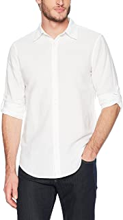 Perry Ellis Men's Slim Fit Solid Linen Roll Sleeve Shirt
