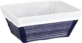 WENKO Panier de rangement Bamboo M Bleu foncé - panier de salle de bain, Bambou, 19.5 x 9 x 15 cm, Bleu foncé