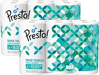 Amazon Brand – Presto! Flex-a-Size Paper Towels, Huge Roll, 12 Count = 30 Regular Rolls