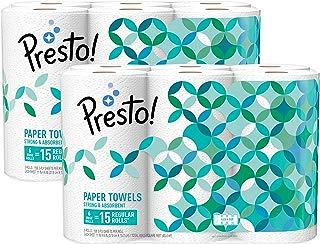 Amazon Brand - Presto! Flex-a-Size Paper Towels, Huge Roll, 12 Count = 30 Regular Rolls
