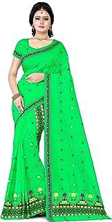 S Kiran's Women's Plain Weave Cotton Blend Mekhela Chador With Unstitched Blouse Piece (ADDn17Pgreen_Green)