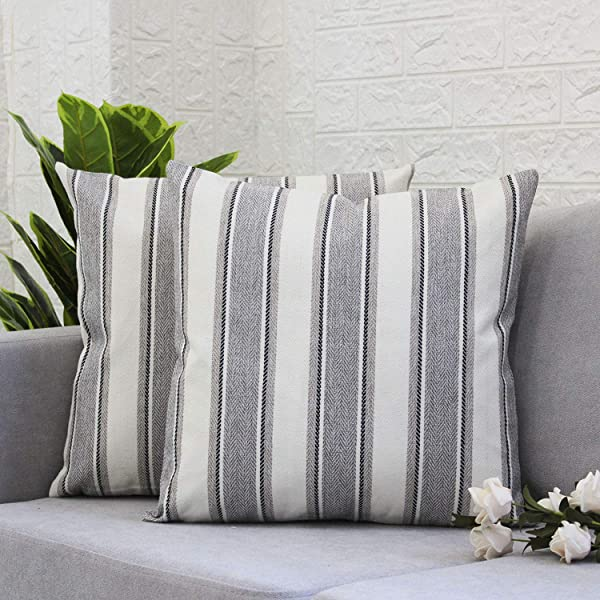 Gysan Decorative Throw Pillow Covers Modern Farmhouse Stripe Cushion Covers For Bed Sofa Couch Car 18 X 18 Inch Set Of 2 Stripe Grey