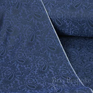 FIORELLO 100% Cupro Bemberg Dark Blue & Navy Jacquard Paisley Lining, by The Yard, Made in Italy