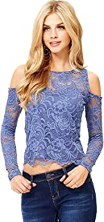 Ambiance Women's Juniors Long Sleeve Lacey Crop Top