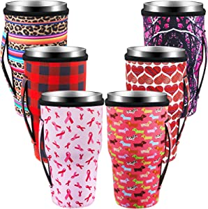 6 Pieces Leopard Print Coffee Cup Sleeve Slim Can Cooler Reusable NeopreneInsulated Cup Sleeves Cup Cover Holders Water Bottles Cup Sleeve for 30-32 oz Cold Hot Beverages, Camping, Outdoor, Beach