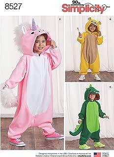 Simplicity 8527 Children's Animal Onesie Sewing Patterns, Sizes S-L