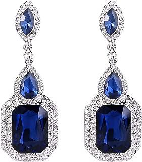 Women's Wedding Bridal Crystal Emerald Cut Infinity Figure 8 Chandelier Dangle Earrings