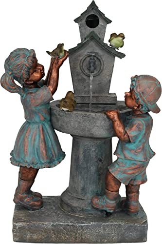 popular Sunnydaze Boy and Girl online new arrival at Bird Bath Water Fountain, Outdoor Garden & Yard Decorative Feature, 30-Inch outlet sale