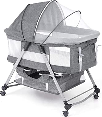 BANIROMAY Baby Bassinet Bedside Sleeper, Baby Bed Crib with Netting, Mattress and Storage Basket, Adjustable Portable Travel