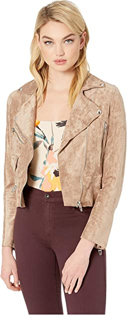 Faux Suede Beige Moto Jacket in Brick Wall