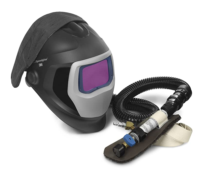 3M Speedglas Fresh-Air III Supplied Air System with V-200 Vortemp Air-Heating valve and Speedglas Welding Helmet 9100-Air, 25-5802-30SW with SideWindows and Auto-Darkening Filter 9100XX, Shades 5, 8-13