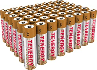 Tenergy 1.5V AA Alkaline Battery, High Performance AA Non-Rechargeable Batteries for Clocks, Remotes, Toys & Electronic Devices, Replacement AA Cell Batteries, 48-Pack