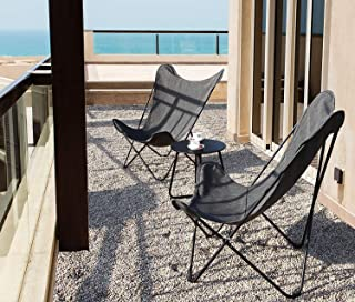 Grand Patio Indoor & Outdoor Lounge Chair, Butterfly Sling Camping Chairs with Metal Frame, Patio Recliner for Pool, Beach and Yard. Gray