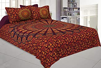THE ART BOX Large Bedsheet Mandala Queen Madala Bedshet with Two Pillow Covers 100% Pure Cotton Mandala Double Bed Sheet Hippy with 2 Pillow Covers (Red Mandala, 102x85 Inch)