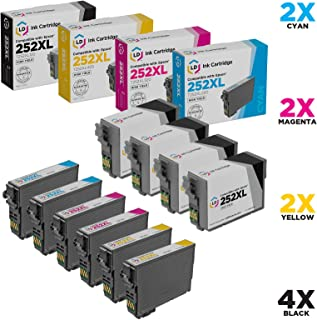 LD Remanufactured Ink Cartridge Replacements for Epson 252XL High Yield (4 Black, 2 Cyan, 2 Magenta, 2 Yellow, 10-Pack)