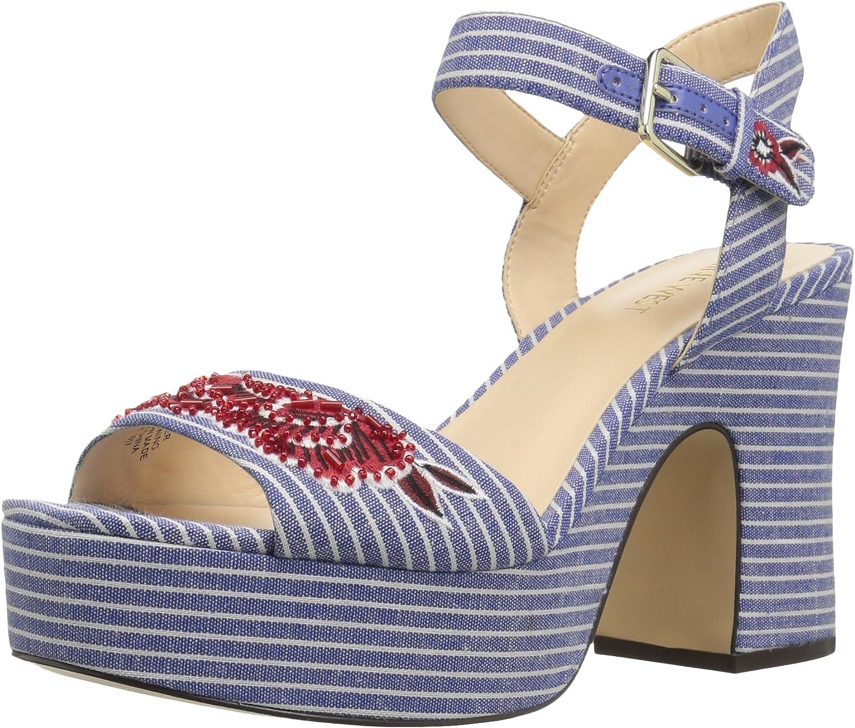 Nine West Womens Fontayah Fabric Heeled Sandal