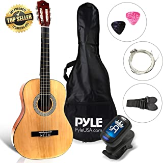 "Beginner 36"" Classical Acoustic Guitar - 6 String Junior Linden Wood Traditional Guitar w/Wooden Fretboard, Case Bag, Tuner, Nylon Strings, Picks, Cloth, Great for Beginners, Children - Pyle PGACLS82"