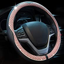 Valleycomfy Universal 15 inch Diamond Crystal Leather Steering Wheel Cover for HRV CRV Accord Corolla Prius Rav4 Tacoma Camry X1 X3 X5 335i 535i,etc (Red)