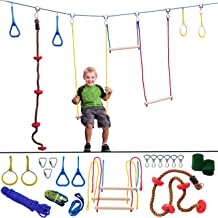 Ninja Hanging Obstacle Course - Portable 40' Slackline Rope Monkey Bar Kit with 8 Swinging Obstacles - Climbing Rope, 4 Rings, 3 Monkey Bars - 250lb Capacity Backyard Playground Equipment Swing Set