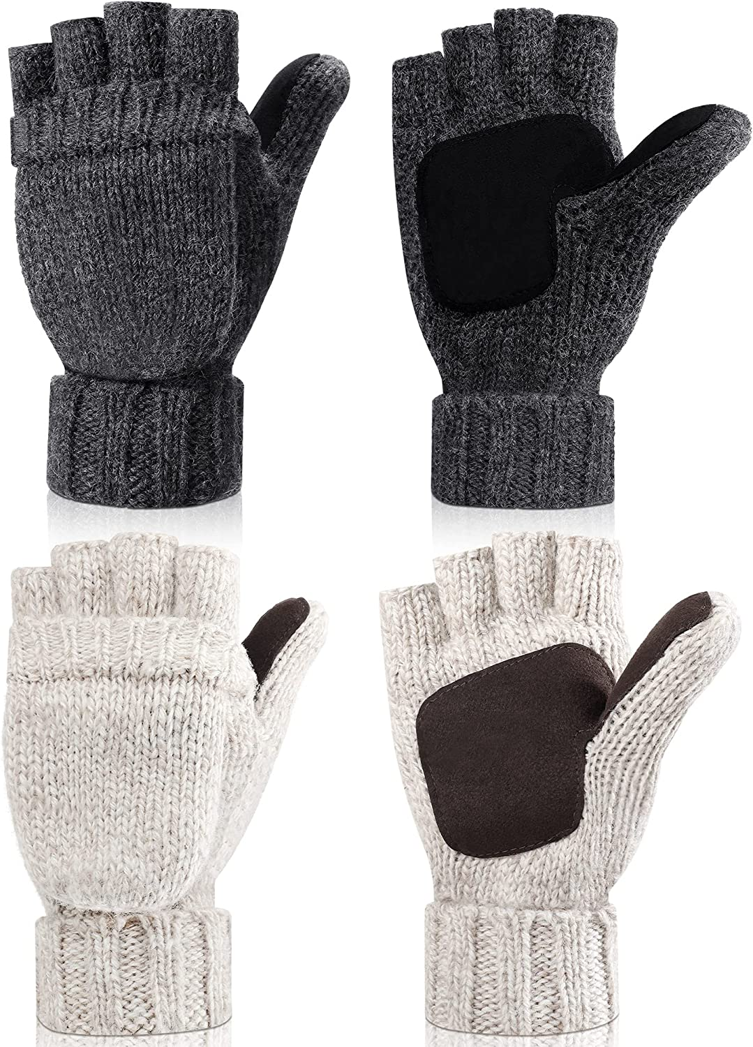 2 Pairs Winter Mittens Warm Wool Gloves With Finger Hole Cold Weather Lightweight Fingerless Thermal Gloves for Women Men