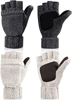 2 Pairs Winter Knitted Convertible Fingerless Gloves Warm Convertible Mittens Flap Cover Warm Mitten Glove for Women and Men