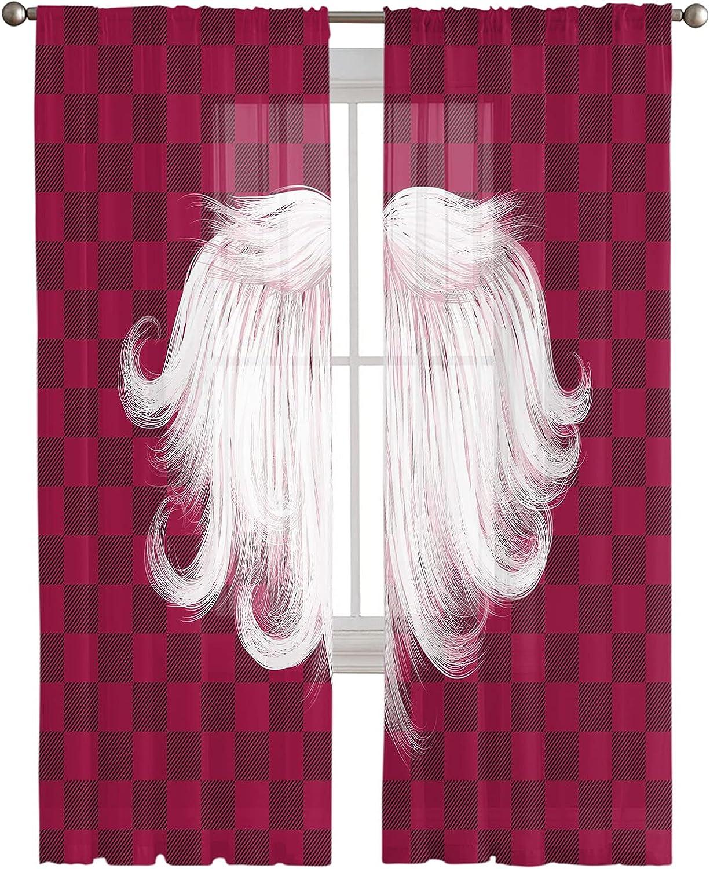 Cheap sale Voile Sheer Curtains 84inch Long Plai Buffalo 2 Panels Christmas Outlet sale feature