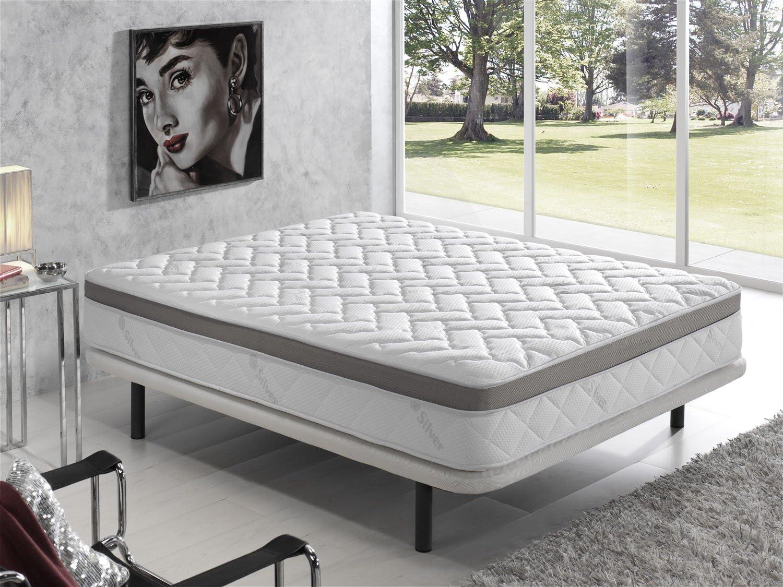 Living Sofa COLCHÓN VISCOELASTICO VISCOELASTICA Premium Acolchado con Hilo DE Plata ANTIESTÁTICO 90 x 190 (Todas Las Medidas)