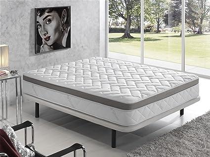 Living Sofa COLCHÓN VISCOELASTICO VISCOELASTICA Premium Acolchado con Hilo DE Plata ANTIESTÁTICO 135 x 190 (Todas Las Medidas)